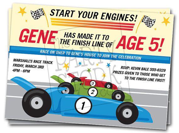 Race Car Birthday Invitation Go Cart Fun Park by thepartystork. , via Etsy.