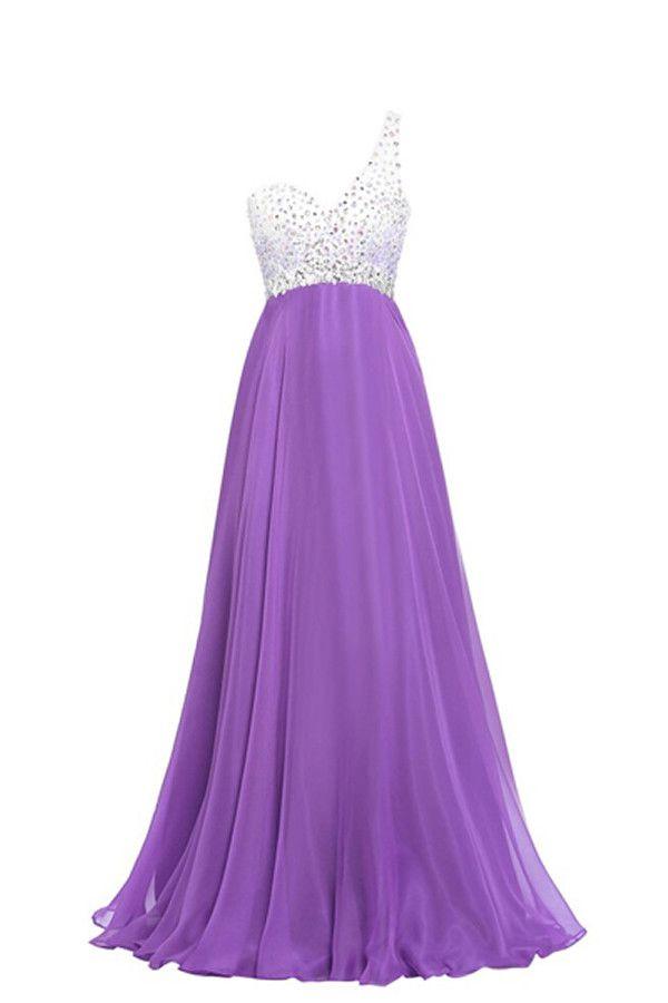 Purple One Shoulder Beaded Long Prom Dresses Ed0964 Prom