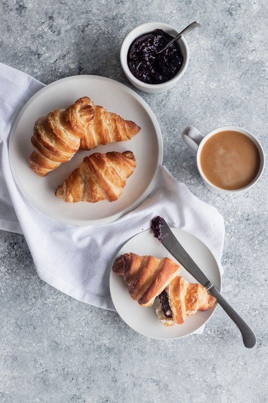 A traditional flaky, basic buttery croissant recipe, these French classics are worth every minute and gram of butter. || Good Things Baking Co. #croissants #flatlay #brunch #goodthingsbaking #frenchpastry