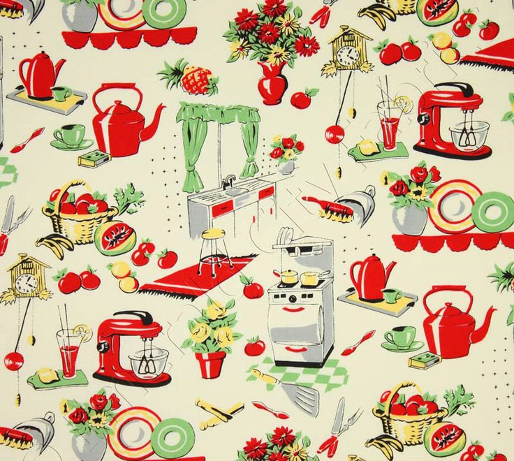 Maybe for lining baskets, making aprons, hostesses gift?? //  Michael Miller - Fifties Kitchen- Retro 50's Kitchen Appliances on Cream- Novelty Fabric-Choose Your Cut 1/2 or Full Yard by BelloBerryFabricShop on Etsy https://www.etsy.com/listing/182674516/michael-miller-fifties-kitchen-retro-50s