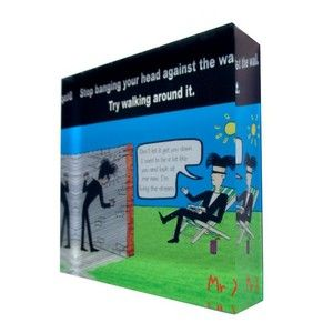 Acrylic Art Block - Mr X. Stop banging your head against the wall, try walking around it. Inspirational words printed directly onto the back of a 90mm x 90mm x 20mm acrylic photo block, from Chelsea Design NZ.
