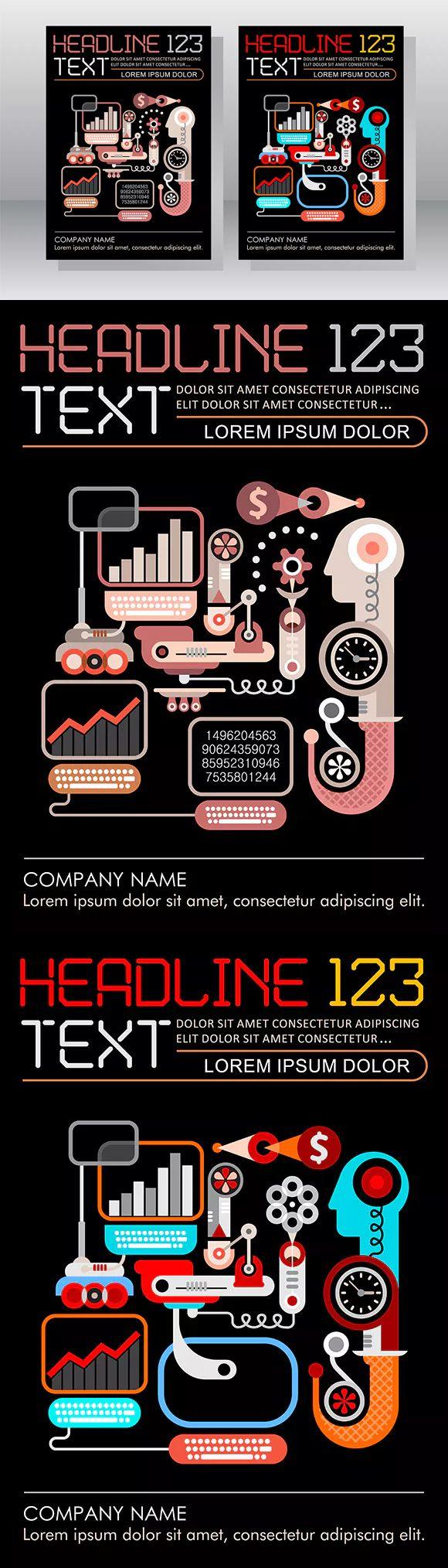 E-commerce Business Leaflet Template Design AI, EPS