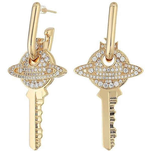 Vivienne Westwood Darianne Key Earrings (Cubic Zirconia) Earring ($308) ❤ liked on Polyvore featuring jewelry, earrings, cz earrings, vivienne westwood jewelry, post back earring, vivienne westwood jewellery and stud earrings