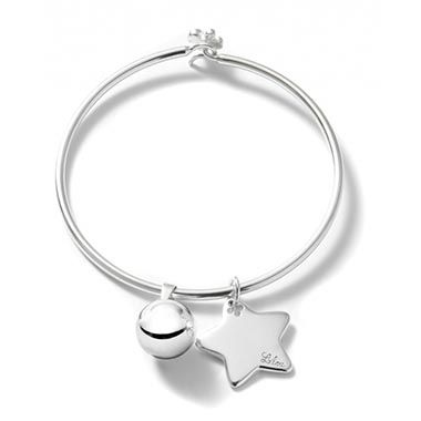 For Christmas, choose the silver ball and silver star with engraving by Lilou, on a Penelope bracelet: £83 #lilou #christmas #star #ball #silver #penelope #present