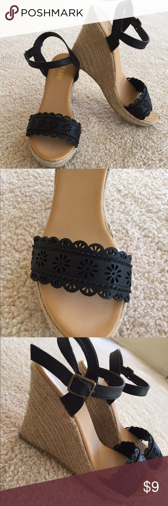 Faux leather espadrilles Very cute pair of faux leather wedge espadrilles. Never worn. Plastic sole. Purchased at Gordmans. Shoes Espadrilles