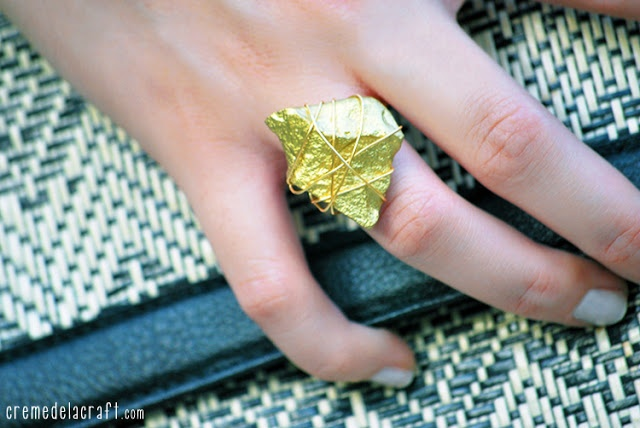 DIY: Gold Statement Ring From A Rock - Creme De La Craft