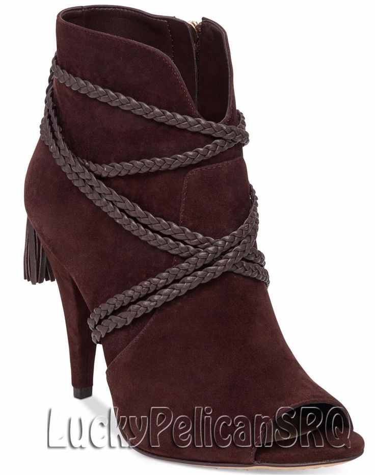 Vince Camuto Astan Braided-Strap Booties Boots Coffee Grind  Brown NWB #VinceCamuto #Booties