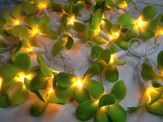 Green Flower String Lights : 35 Green Frangipani Flower Fairy String Lights Wedding Party Floral H?