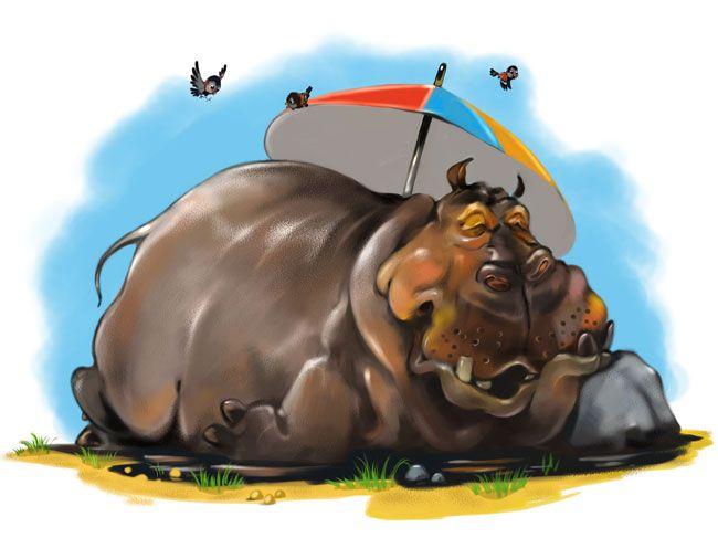 Почтовые открытки бегемот