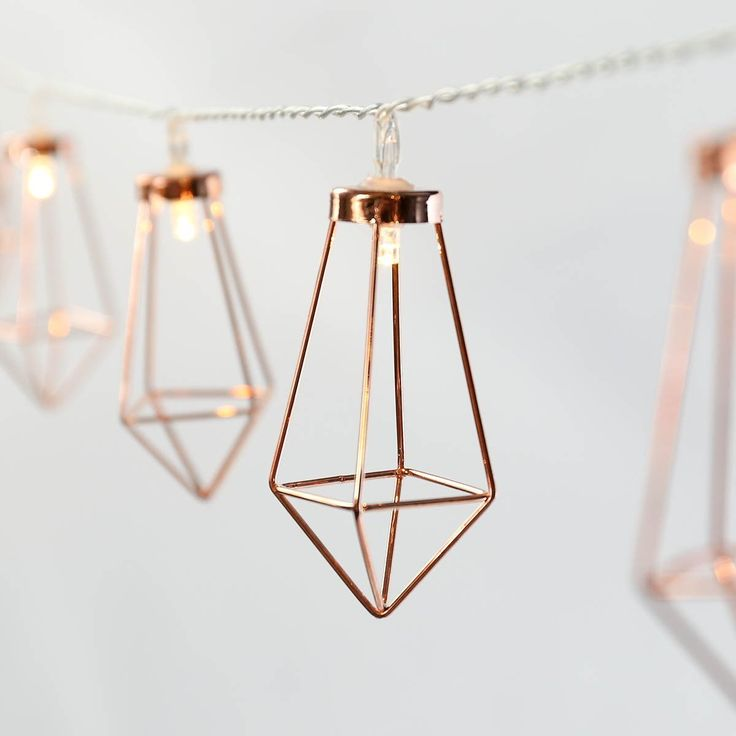 Metal String Lights - Rose Gold - Warm White LEDs - Battery Operated - Timer by Festive Lights: Amazon.co.uk: Kitchen & Home