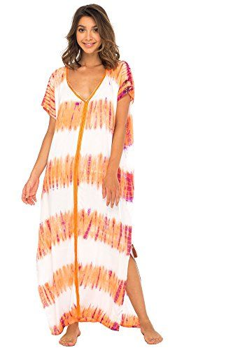 ae42532875 Back From Bali Womens Long Swimsuit Bathing Suit Cover up Maxi Beach Dress  Boho Striped Summer Dress Caftan