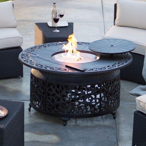 Белхам живущих Сан-Мигель-Литой алюминий 48 В. Круглый газа костра чат стол - огненные ямы на Hayneedle