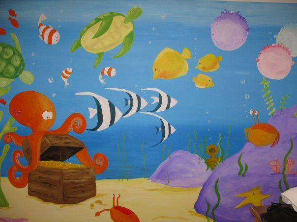 Underwater mural for a friend's twin girls.