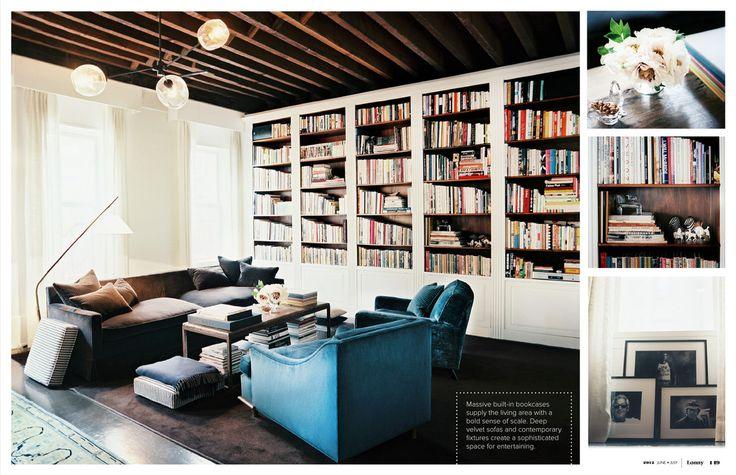 June_July 2012   Lonnymag.com: Velvet Chairs, Blue Velvet, Living Rooms, Home Libraries, Built In, Books Shelves, Interiors Design, Cars Girls, Lonni Magazines