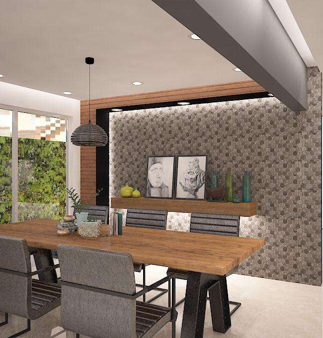 Comedor muro de piedra madera contemporaneo dise o for Diseno de interiores dibujos