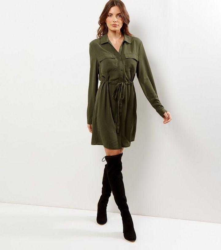 Tall - Robe chemise kaki nouée à la taille | New Look
