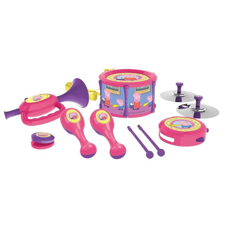 Boys and Girls can have musical big band fun with Peppa Pig and George! Includes a drum, trumpet, tambourine, castanets, symbols and maracas.