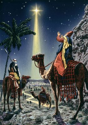 Matthew 2: Wise men following a shining star to Jesus