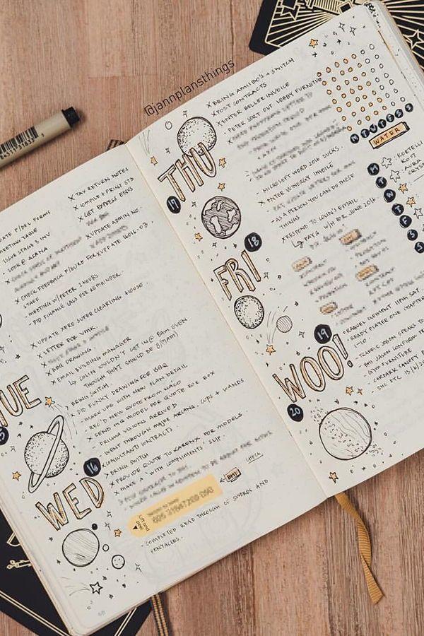bullet journal bujo planer ideen für den wöchentlichen sprea … – #artsy #bujo #Bullet #ideas #journal