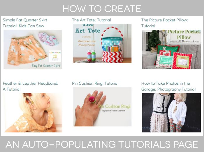 How to Create an Auto Populating Tutorials Page