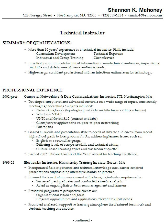Resume: Technical Instructor