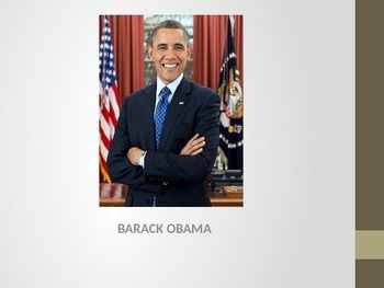 This is a PowerPoint that displays a short biography of President Barack Obama, from his early life to his 2008 presidential victory. His 2012 victory is briefly mentioned.