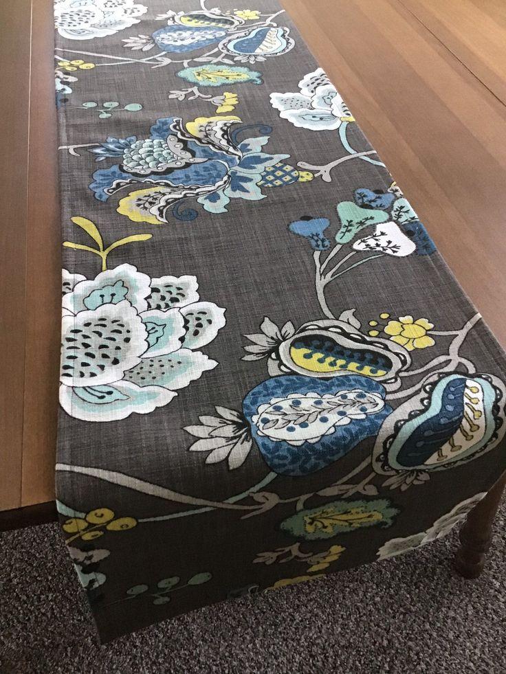 Modern floral table runner, blue green dark gray table