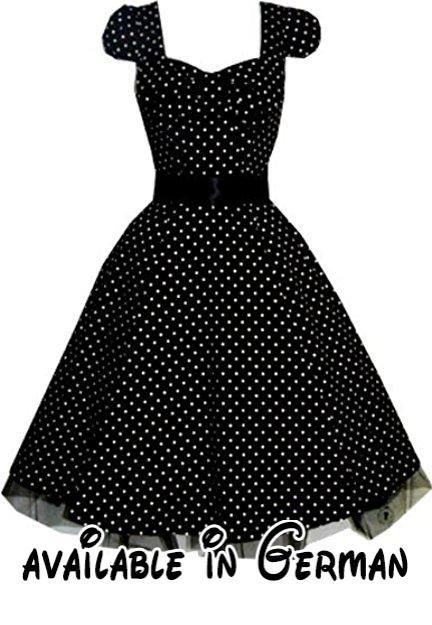 Pretty Kitty Fashion 50s Polka Dot Schwarz Weiß Cocktail Kleid XXL. BITTE BEACHTEN SIE - Das Kleid ist so dimensioniert, klein. Wir empfehlen eine Nummer größer bestellen Wenn Sie unsicher sind - bitte beachten Sie Messungen unter #Apparel #DRESS