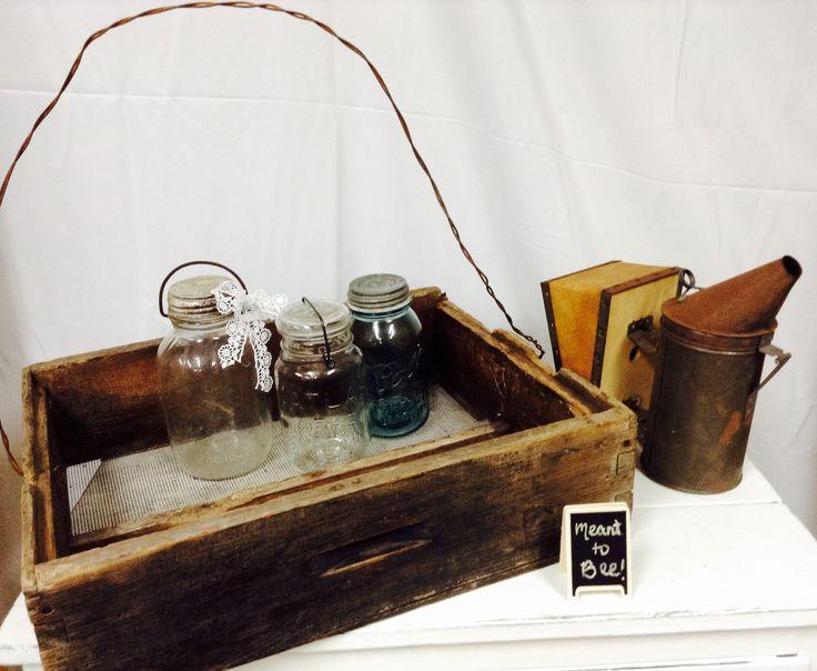 Bee box, honey jars & bee smoker