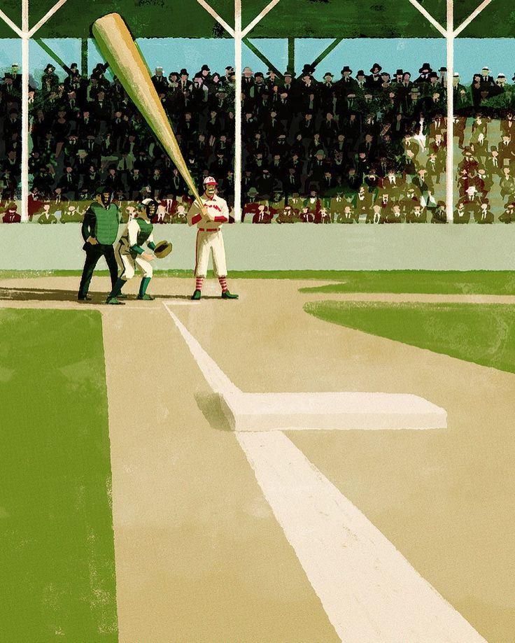 Casey at the Bat for the national pastime museum. #baseball #caseyatthebat #sports #usa #ballpark #illustration #illustrator #tatsurokiuchi #イラスト #イラストレーション  #木内達朗