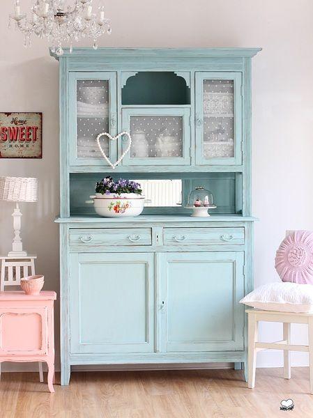Küchenbuffet,+Küchenschrank+in+Türkis+von+Bleu+et+Rosé+auf+DaWanda.com