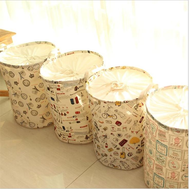 Eiffel bicycle pattern Cotton Linen Multi-function Handle Stackable Storage Barrel Laundry Basket Toy Clothes Storage Box LD085