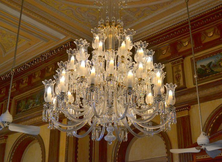 Hyderabad - Taj Falaknuma Palace. One of many gorgeous crystal chandeliers