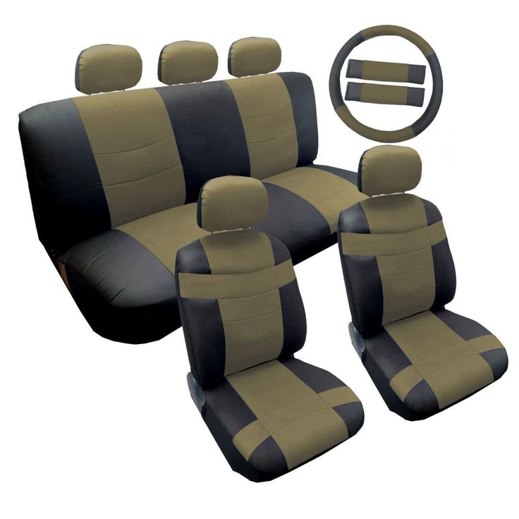 Unique Two Tone Black & Tan PU Faux Leather Seat Cover Set 14pc- Toyota Camry (Color), Multi