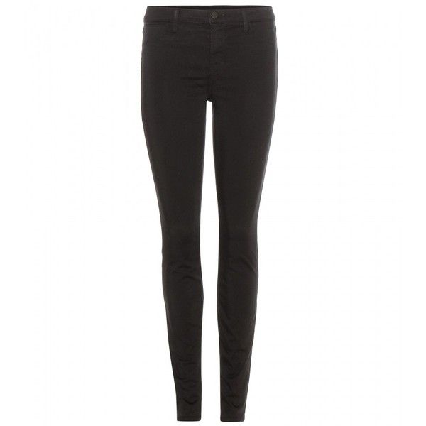 J Brand Super Skinny Mid-Rise Jeans ($220) ❤ liked on Polyvore featuring jeans, pants, calça, black, mid-rise jeans, medium rise jeans, j brand, skinny leg jeans and skinny fit jeans
