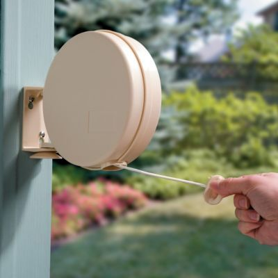 Improvements Catalog's Retractable Outdoor Clothesline - 40 feet long, holds up to 375 pounds of laundry