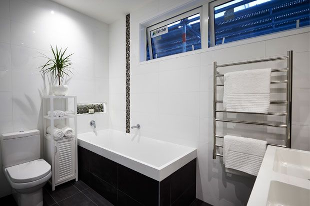 Get the look - Quinn & Ben's Bathroom & Laundry - The Block NZ 2014 | Visit blog.curate.co.nz for links to all products | Seaforth Bathmat, Locker Storage Unit, Mint Toilet Brush Holder and Soap Dispenser from Freedom; Pot from Bunnings