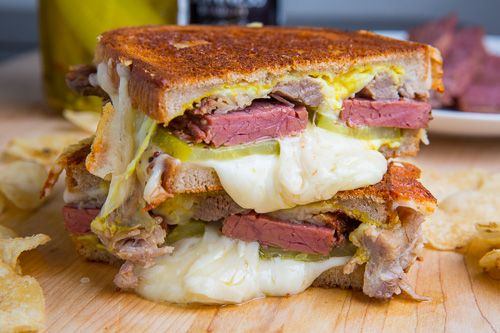 St Patrick's Day Corned Beef Cuban Grilled Cheese Sandwich ...