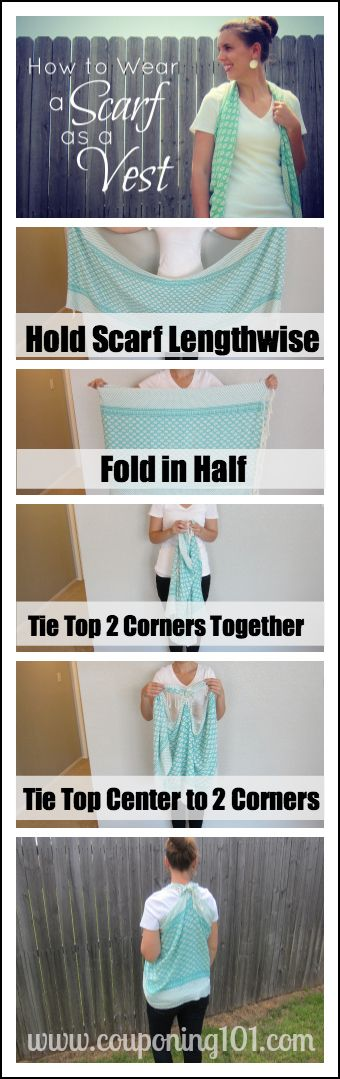 How to wear a scarf as a vest! Easy no-sew scarf refashion. I used to do this all the time!