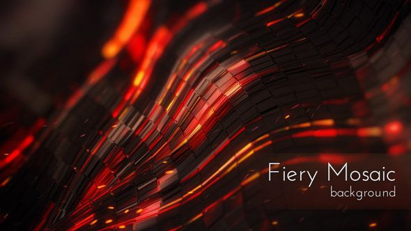 Dark Fiery Mosaic Motion Background, UltraHD loops Backdrops collection.