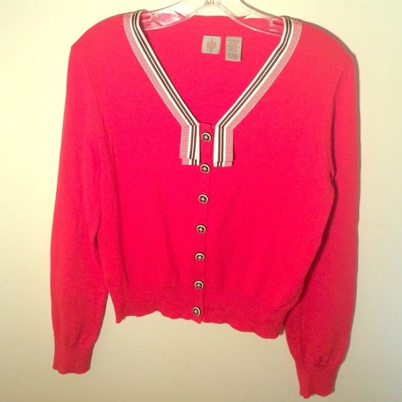 Anthropologie Nautical Cardigan Sweater Sz L Anthropologie Nautical Cardigan Sweater Sz L. Never worn. Red, white, and navy blue. Grosgrain ribbon accents. Brand : HWR. Hwr Sweaters Cardigans