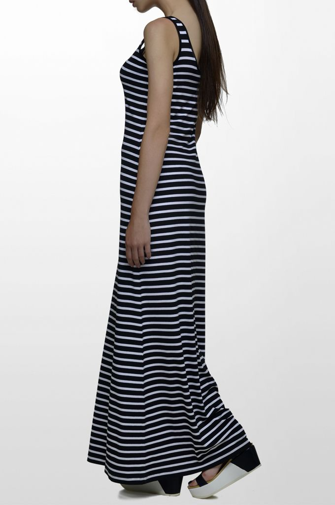 Sarah Lawrence - maxi striped dress with embroidery.