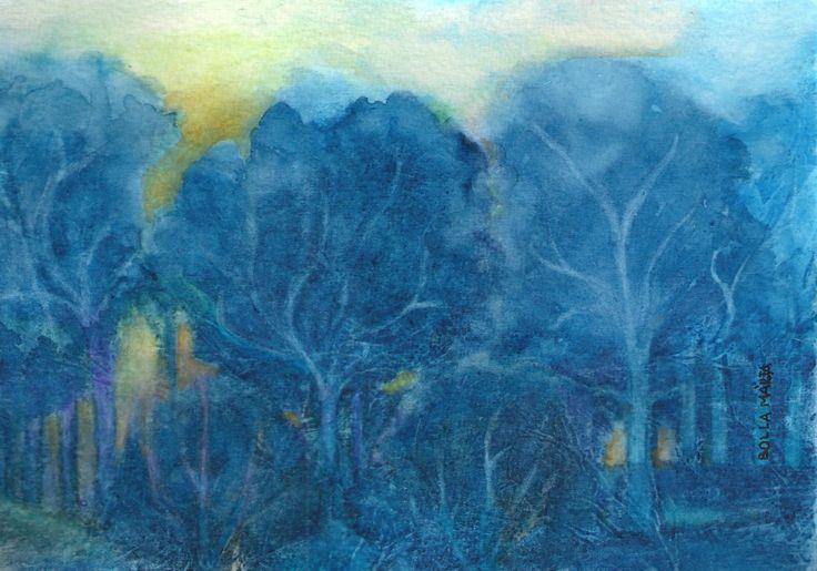 Night forest - Éjjeli erdő - Aquarelle - 21 x30 cm - By Márta Bolla - Hungary