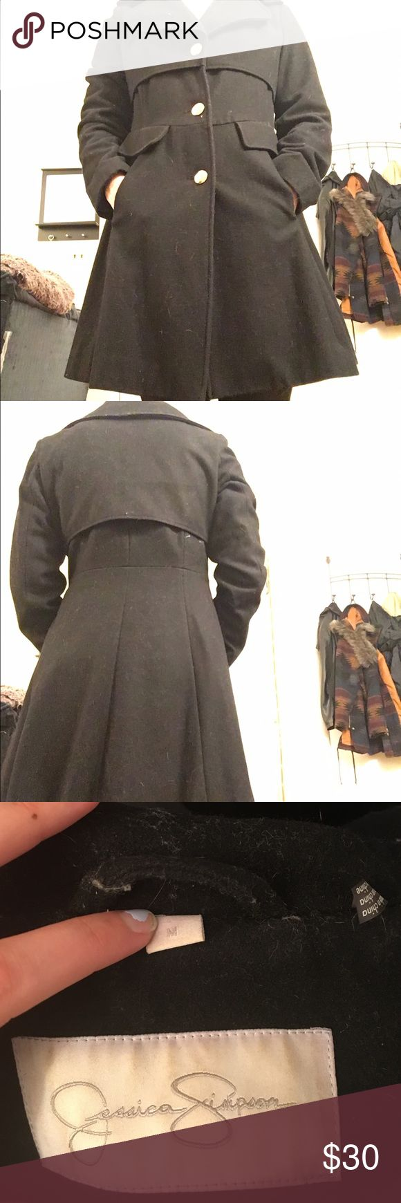 Jessica Simpson Black Dress Coat Beautiful dress coat in size medium. Fits true to size and is super flattering. Gold buttons are fully in-tack! Barely worn and wish I was able to wear it more!! 55% Wool. Jessica Simpson Jackets & Coats Pea Coats