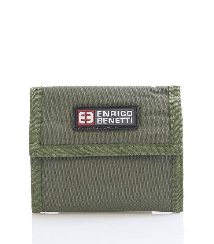 #enrico #benetti Praktická látková rozkládací peněženka Enrico Benetti v olivové barvě. Uvnitř přihrádka na zip na drobné, díle na karty, doklady, bankovky. Uzavírání je na suchý zip. Materiál pevný textil.