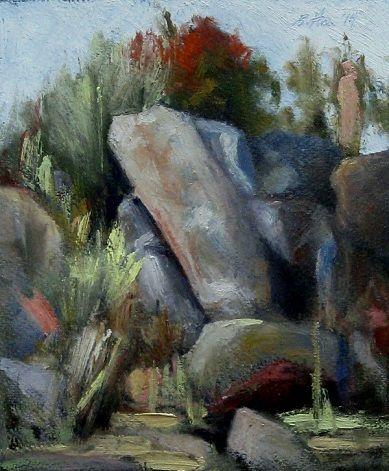 Climbing rocks in Hampi, India.  Oil on Paper, 2014
