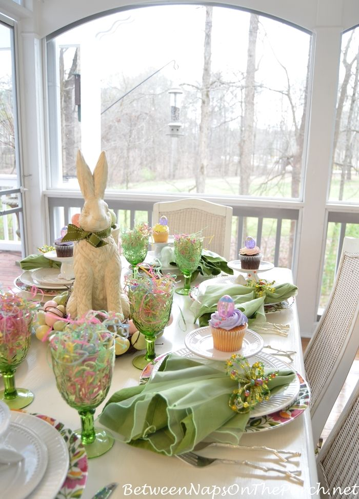 A spring table setting with the Easter Bunny.     Between Naps on the Porch blog