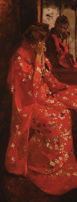George Hendrik Breitner (1857–1923), Meisje in rode kimono voor de spiegel (Girl in red kimono before mirror)