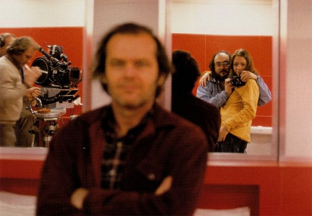 A self portrait of Stanley Kubrick with his daughter, Jack Nicholson and the crew on the set of The Shining (1980).
