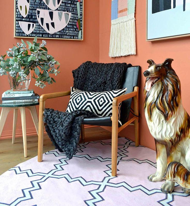 Leather Sling Chair  - Teak & Black